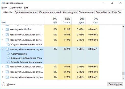 Много процессов - Узел службы svchost.exe